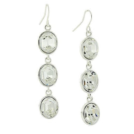 Silver-Tone Clear Crystal Swarovski Elements Linear Earrings