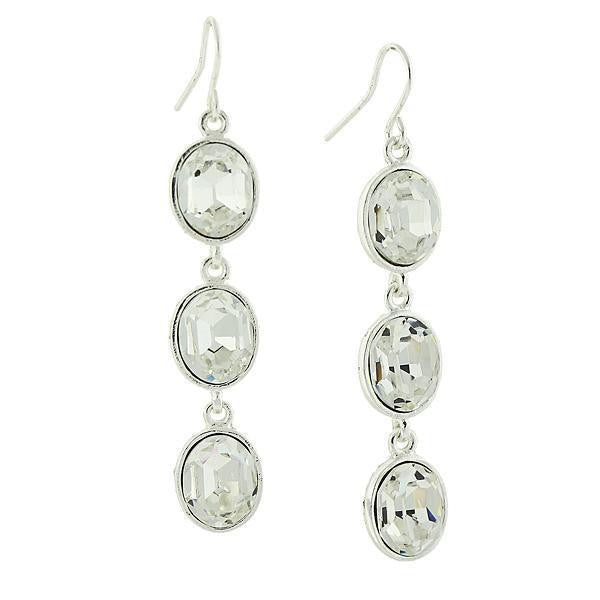 Silver Tone Clear Crystal Swarovski Elements Linear Earrings