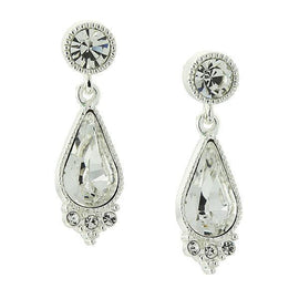 Silver-Tone Teardrop Earrings Made with Swarovski Crystals