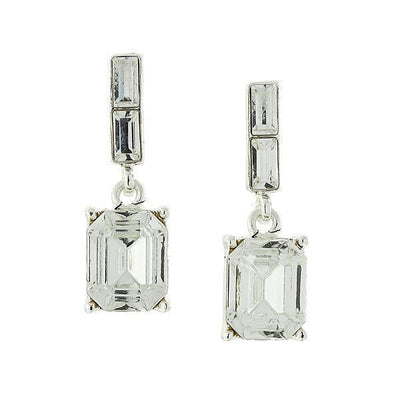 Silver Tone Octagon Drop Earrings Made With Swarovski Crystals