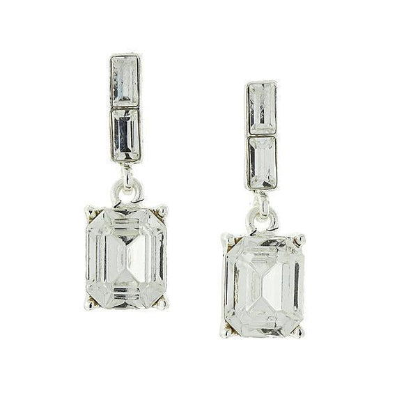 Silver-Tone Octagon Drop Earrings Made with Swarovski Crystals