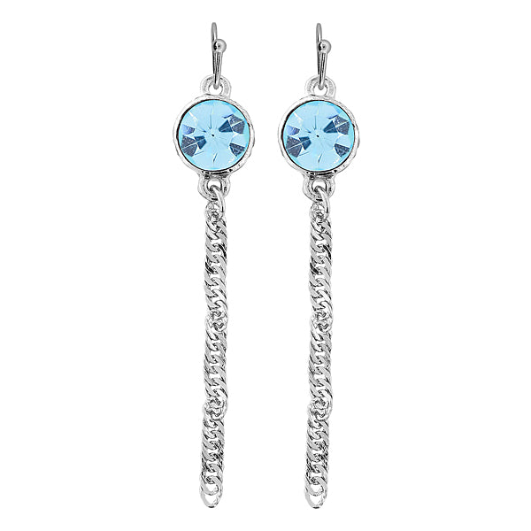 Silver Tone Aquamarine Color Crystal Chain Drop Wire Earring