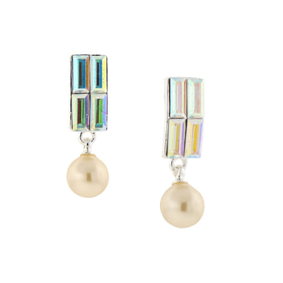 Silver-Tone Crystal AB and 8mm Costume Pearl Drop Earrings