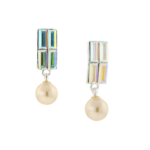 Silver-Tone Crystal AB and 8mm Simulated Pearl Drop Earrings