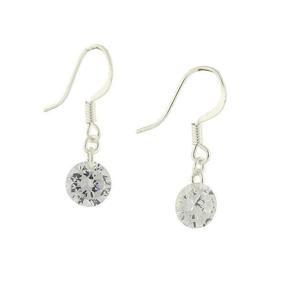 Silver-Tone Crystal Swarovski Element Drop Earrings