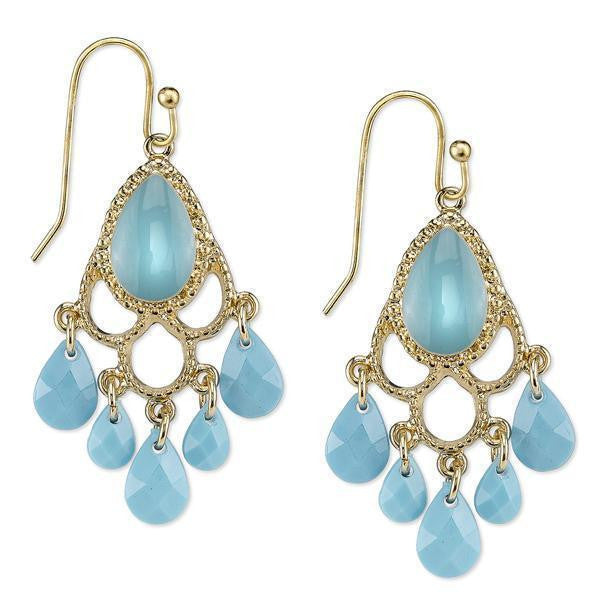 Gold Tone Turquoise Blue Chandelier Earrings