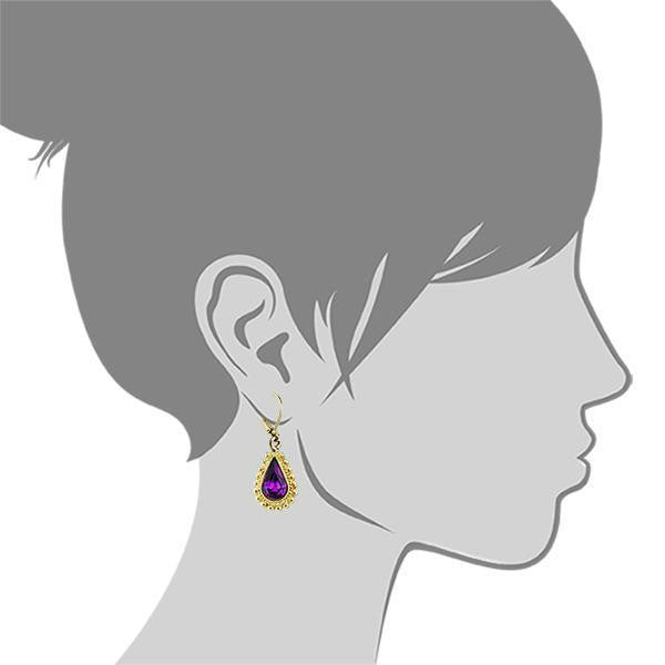 2028 Gold Tone Amethyst Color Crystal Swarovski Elements Earrings