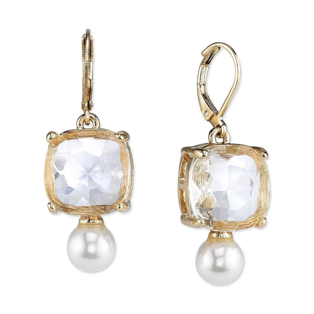 Gold Tone Crystal And Costume Pearl Gallery Set Earrings