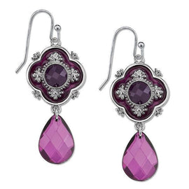 Silver-Tone Purple Faceted and Enamel Drop Earrings