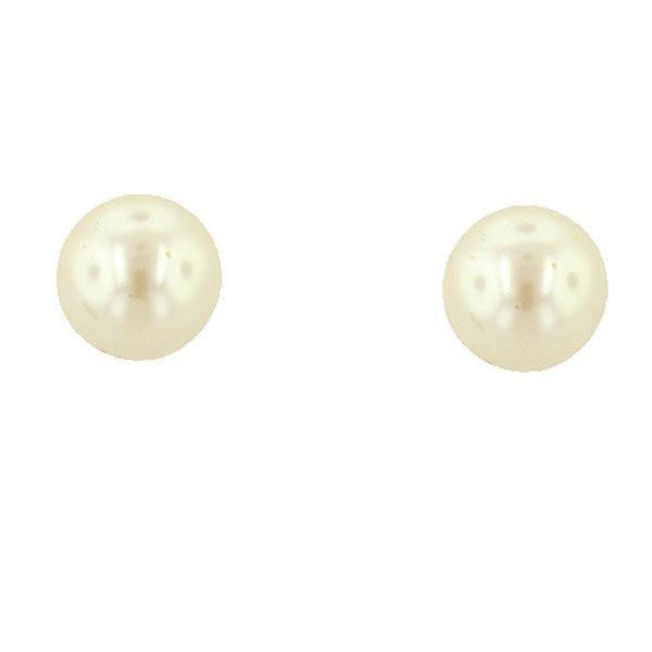 Gold Tone 12Mm Costume Pearl Button Earrings