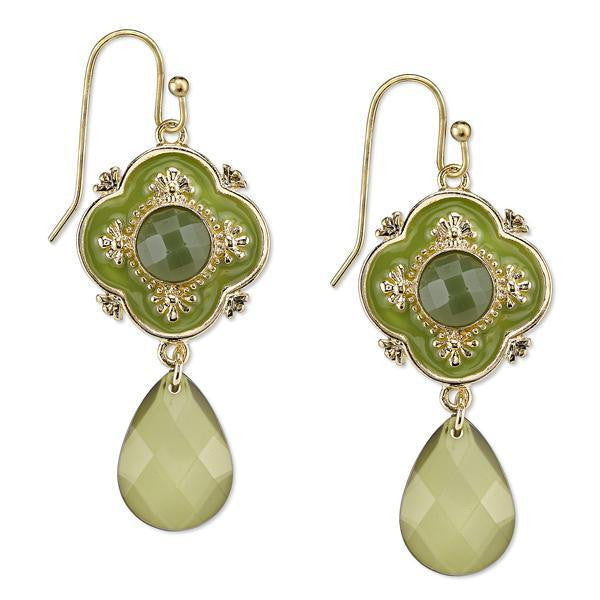 Gold Tone Green Faceted And Enamel Drop Earrings