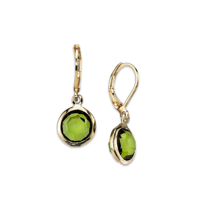 Gold Tone Olivine Green Color Round Drop Earrings