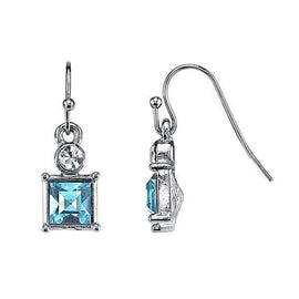 Silver-Tone Aqua Blue and Crystal Accent Square Drop Earrings