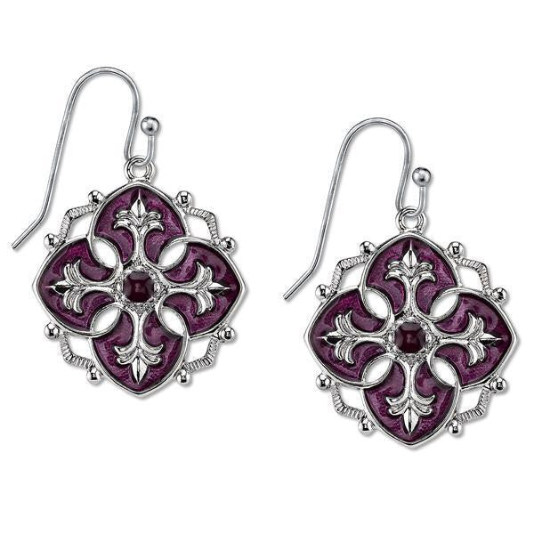 Silver Tone Purple Enamel Drop Earrings