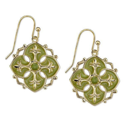 Gold-Tone Green Enamel Drop Earrings