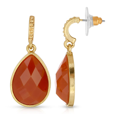 Gold-Tone Red Faceted Pear Shape Drop Earrings