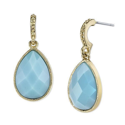 Gold Tone Turquoise Blue Faceted Pearshape Drop Earrings