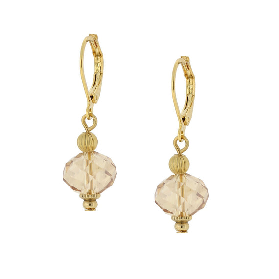 Fashion Jewelry - Gold-Tone Light Topaz Luster Drop Earrings