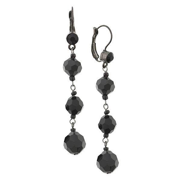 Black-Tone Black Beaded Linear Leverback Earrings