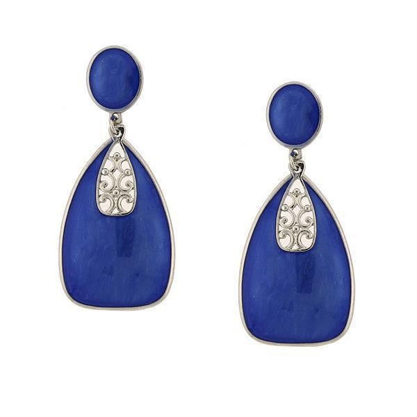 Silver-Tone Blue Enamel Drop Earrings