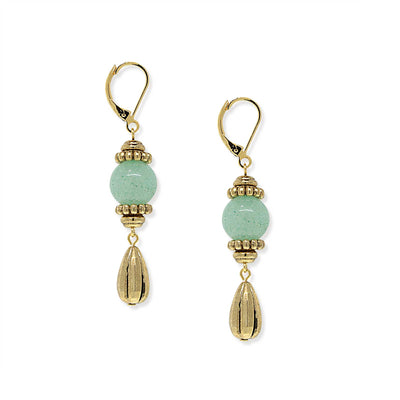 Gold Tone Genuine Stone Aventurine  Drop Earring