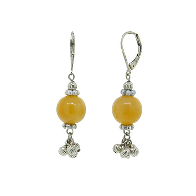 Silver Tone Genuine Stone Yellow Quartz Round Drop Earring