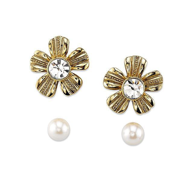 Gold Tone Crystal And Costume Pearl Flower Earrings Jacket Set