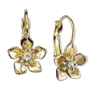 Gold-Tone With Crystal Accent Flower Drop Earrings