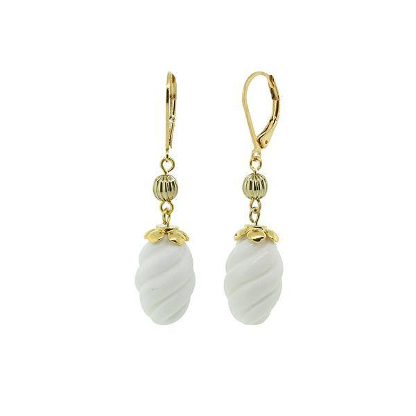 Gold Tone Genuine Stone White Quartz Drop Earring