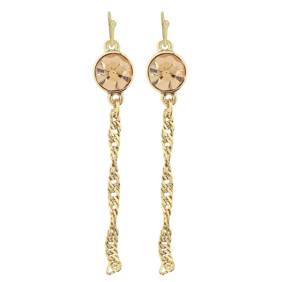 Gold Tone Topaz Color Crystal Chain Drop Wire Earring