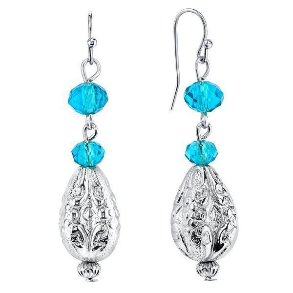 Silver Tone Aqua Drop Earrings