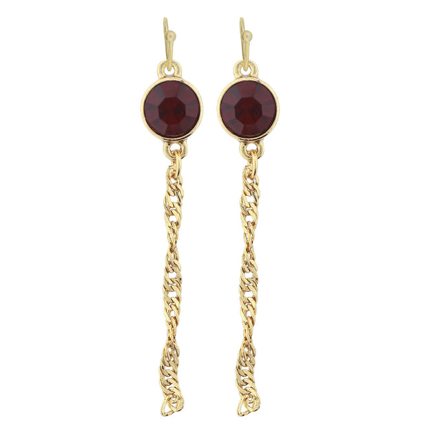 Gold Tone Crystal Chain Drop Wire Earrings Red