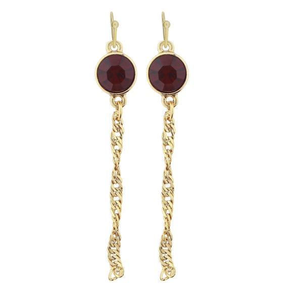 Gold Tone Red Crystal Chain Drop Wire Earring