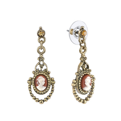 Gold Tone Faux Dark Carnelian Cameo Drop Earrings