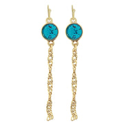 Gold Tone Crystal Chain Drop Wire Earrings Blue