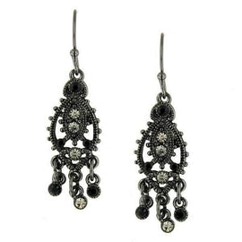 Black-Tone Black and Gray Chandelier Earrings