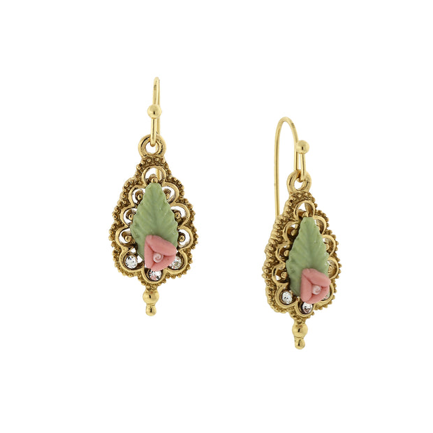 14K Gold-Dipped Porcelain Rose Drop Earrings PINK