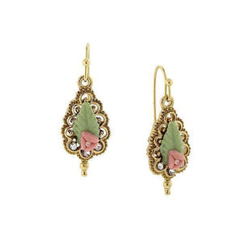14K Gold-Dipped Green Leaf and Mini Pink Porcelain Rose Drop Earrings
