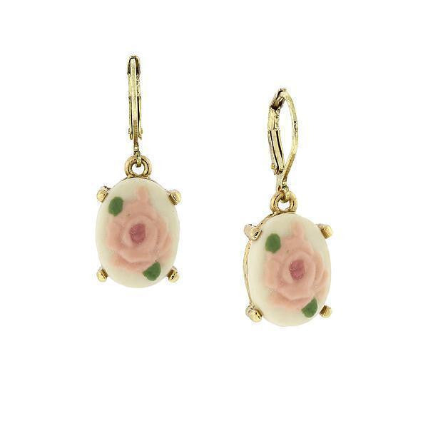 14K Gold Dipped Pink And White Porcelain Rose Cameo Drop Earrings