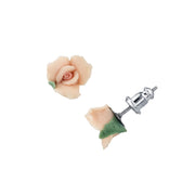 Pink Porcelain Rose Stud Earrings