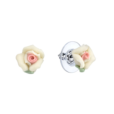 Ivory Porcelain Rose Stud Earrings