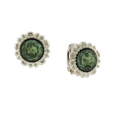 Silver-Tone Sea Green Crystal Button Clip On Earrings