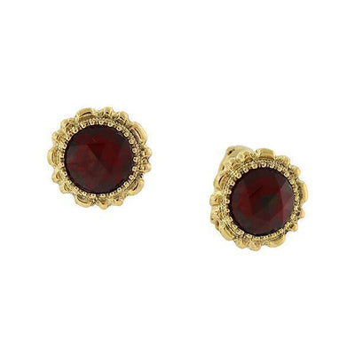 14K Gold-Dipped Red Crystal Button Clip On Earrings