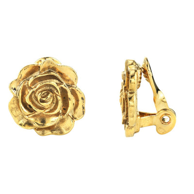 14K Gold-Dipped Flower Button Clip On Earrings