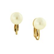 Silver Tone Costume Pearl Clip On Earrings Gold