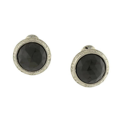 Silver Tone Black Round Button Clip On Earrings