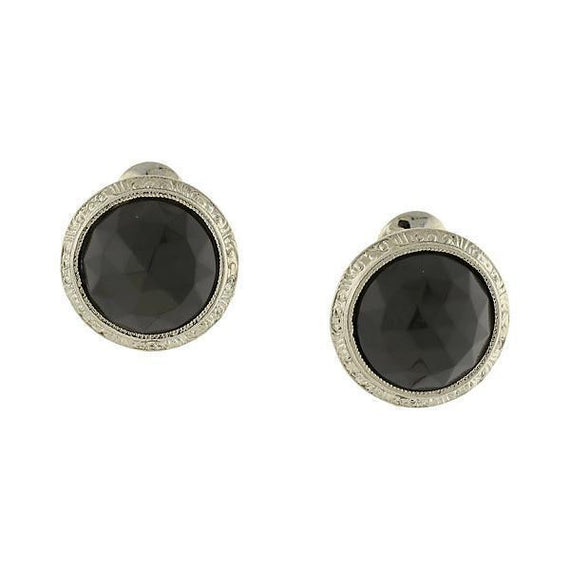 Silver-Tone Black Round Button Clip Earrings
