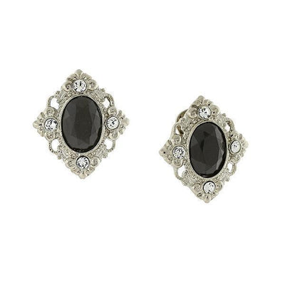 Silver-Tone Black And Crystal Accent Clip On Earrings