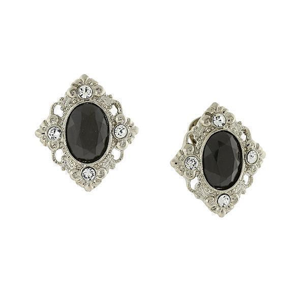 Silver Tone Black And Crystal Accent Clip On Earrings