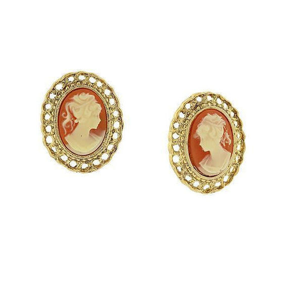 14K Gold-Dipped Cameo Oval Filigree Clip Button Earrings